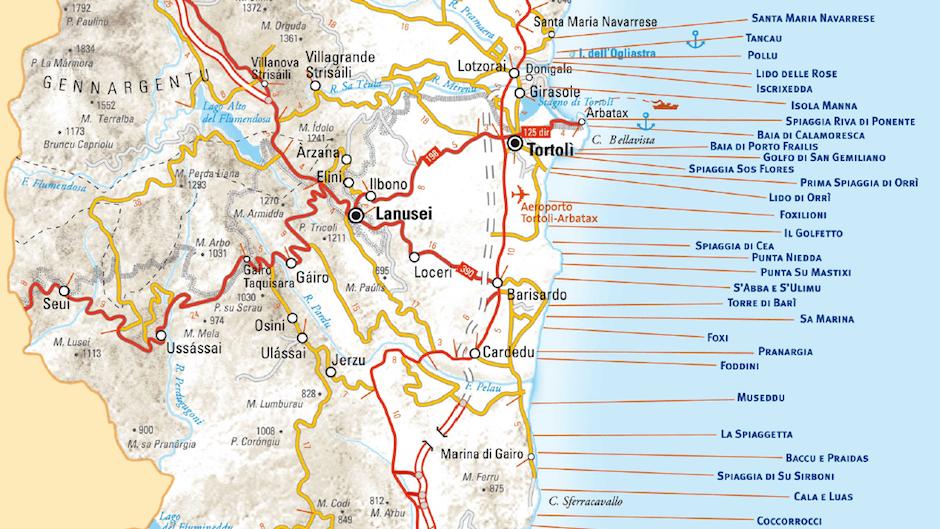 Karte Sardinien Strände.Strände Der Provinz Ogliastra Sardinien L Ultima Spiaggia Bari Sardo